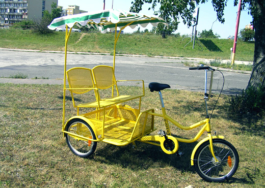 Rear tricycle for transport of persons
